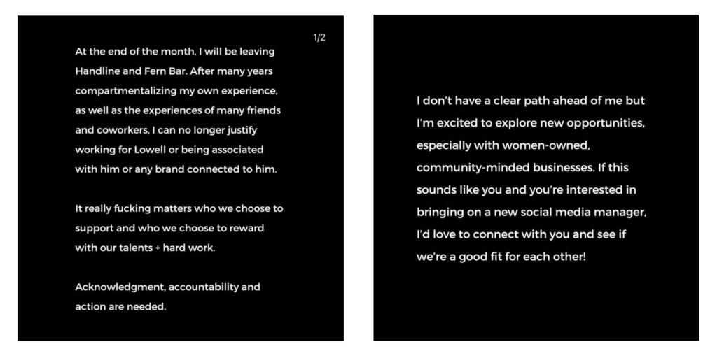 Leah Engel Instagram statement